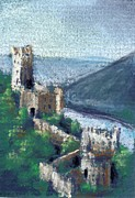 Medieval Pastels - Castle by the River by Sherri Strikwerda