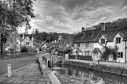 Old Houses Metal Prints - Castle Combe England Monochrome Metal Print by Ann Garrett