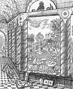 Tiles Drawings - Castle Cross Abbey Cloister by Bill Perkins