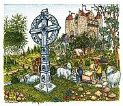 Garden Drawings Framed Prints - Castle Cross Framed Print by Bill Perkins