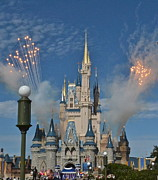 Wdw Prints - Castle Fireworks Print by Carol  Bradley - Double B Photography