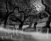 Gothic Horror Prints - Castle Graveyard I Print by James Christopher Hill
