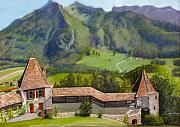 Castle Pastels - Castle Gruyere Swiss by Leonor Thornton