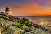 Lighthouse At Sunset Posters - Castle Hill Lighthouse - Newport Rhode Island Poster by Thomas Schoeller