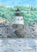 New England Lighthouse Paintings - Castle Hill Lighthouse by Dominic White