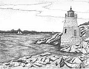 Lighthouse Drawings - Castle Hill Lighthouse by Lawrence Tripoli