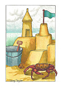 Surfing Art Paintings - Castle in the Sand by Terry Taylor