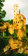 Impressionism Digital Art Prints - Castle in The Sky . Long Cut Print by Wingsdomain Art and Photography