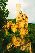 Castle On A Mountain Digital Art Posters - Castle in The Sky Poster by Wingsdomain Art and Photography