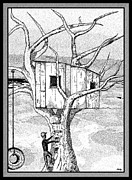 Ink Drawing Digital Art Posters - Castle In The Tree - A Childhood Dream Poster by Glenn McCarthy Art and Photography