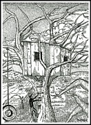 Stippling Drawings Framed Prints - Castle In The Tree 2 - Hand Finished Edition Framed Print by Glenn McCarthy Art and Photography