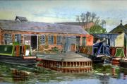 Repair Painting Framed Prints - Castle Mill Boatyard. Oxford Framed Print by Mike Lester