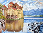 John Keaton Paintings - Castle of Chillon by John Keaton
