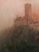 Foggy Day Painting Posters - Castle on the Hill Poster by Tom Shropshire
