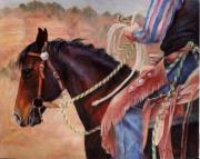 Roping Horse Paintings - Castle Rock Buckaroo western cowboy painting by Kim Corpany