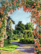 Rose Bushes Posters - Castle Rose Garden Poster by David Lloyd Glover