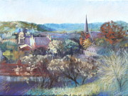Historic Pastels Prints - Castlemaine Vista Print by Pamela Pretty