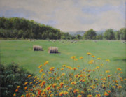Haybales Painting Prints - Castleton Print by Cynthia Satton