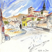 Old Houses Drawings Acrylic Prints - Castrillo de Duero in Spain 01 Acrylic Print by Miki De Goodaboom