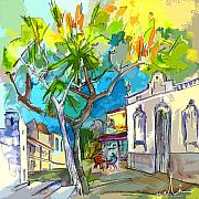 Travel Sketch Prints - Castro Marim Portugal 14 bis Print by Miki De Goodaboom
