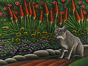 Backyard Garden Posters - Cat - Bob the Bobcat Poster by Carol Wilson