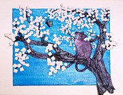 Cherry Blossoms Mixed Media Framed Prints - Cat Among the Cherry Blossoms Framed Print by Sarah Swift