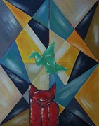 Abstract Style Painting Originals - Cat and bird by Joseph Ferguson