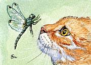 Feline Mixed Media Posters - Cat and Dragonfly  Poster by Svetlana Ledneva-Schukina