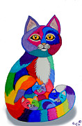 Colorful Animals Drawings Framed Prints - Cat and Kittens 2 Framed Print by Nick Gustafson