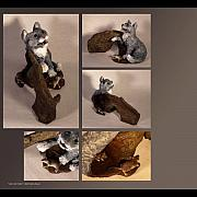 Cat Sculpture Posters - Cat and Mice alternate views Poster by Katherine Howard