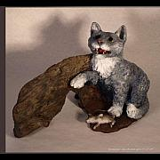 Cat Sculpture Posters - Cat and Mice main view Poster by Katherine Howard