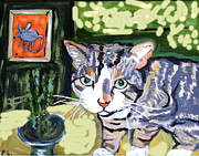Animal Ceramics Metal Prints - Cat And Mouse Friends Metal Print by Patricia Lazar