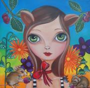 Brunette Painting Prints - Cat and Mouse Print by Jaz Higgins