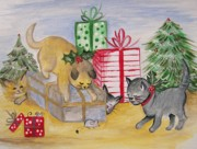 Winter Fun Paintings - Cat and Mouse by Leslie Manley
