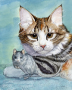 Mouse Mixed Media Posters - Cat and Mouse Poster by Svetlana Ledneva-Schukina