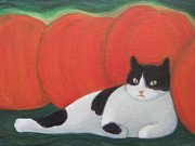 White Moon Studio Framed Prints - Cat and Pumpkins  Framed Print by Kazumi Whitemoon