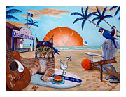 Wildcats Painting Framed Prints - Cat-aritaville Framed Print by Jeff Conway
