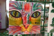 Colors Glass Art Prints - Cat Art on Tile Print by Carl Purcell