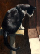 Oil Cat Paintings - Cat at a Window With a View by Lisa Phillips Owens
