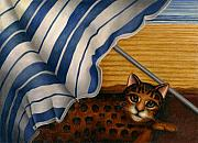 Blanket Posters - Cat at Beach Poster by Carol Wilson