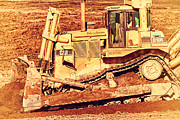 Men At Work Posters - CAT Bulldozer . 7D10945 Poster by Wingsdomain Art and Photography