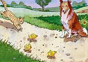 Cat Chasing Chicks Print by Valerian Ruppert