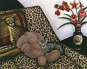 Cheetah Painting Prints - Cat Cheetahs Bed Print by Carol Wilson