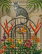 Patio Framed Prints - Cat Cheetahs Fence Framed Print by Carol Wilson