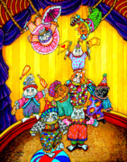 Jugglers Framed Prints - Cat Circus 1 Framed Print by Sherry Dole