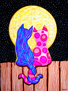 Couples Drawings Posters - Cat Couple Full Moon Poster by Nick Gustafson
