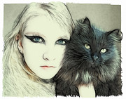 Tilly Metal Prints - Cat Cuddles Metal Print by Tilly Williams