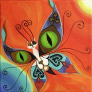 Antennae Painting Prints - Cat-eyes Butterfly Print by Melina Mel P