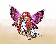 Angel Drawings - Cat Fairy in purple  by Peter Piatt