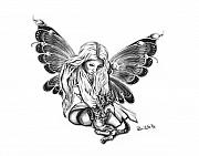 Pencil Artwork Drawings Prints - Cat Fairy  Print by Peter Piatt